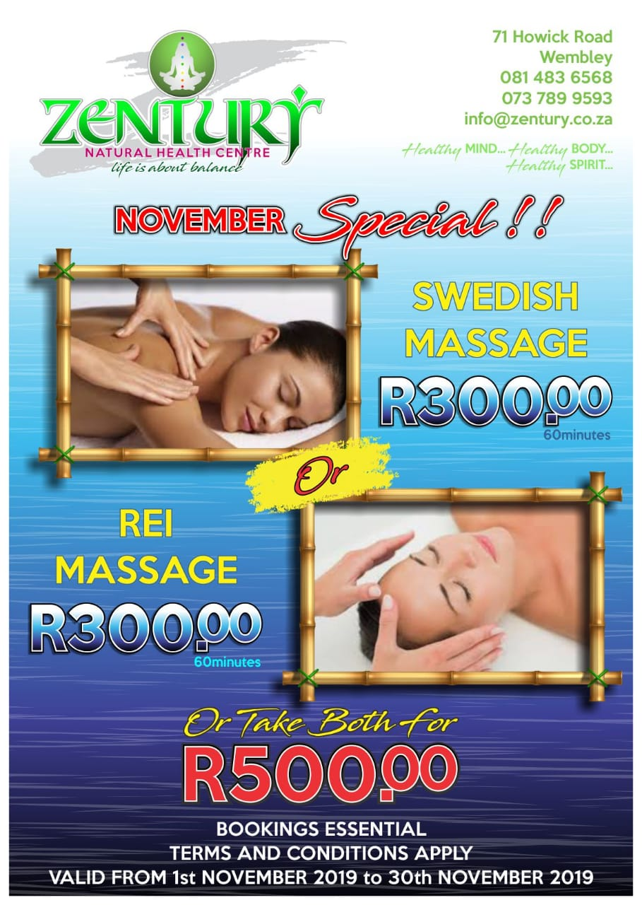 Rei and Swedish Massage Specials November 2019